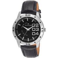 Swisstone Black Leather Strap Analog Watch For Men/Boys- ST-GR020-BLK-BLK
