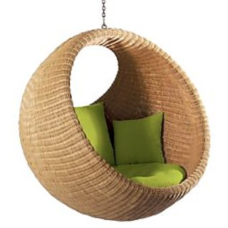 Jute Cane Swing Hanging Chair With Cusion