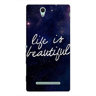 1 Crazy Designer Quotes Life is Beautiful Back Cover Case For Sony Xperia C3 C551173