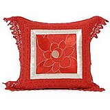 SUNFLOWER - Red Cotton Krochia Cushion Cover -SET OF 2