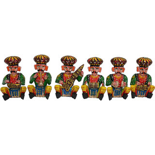 Gruvi Wooden Musical Bawla Showpiece Set of 6 pcs. Home Dcor