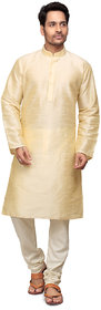 Golden Silk Kurta with Churidar Pyjama for Men by Trustedsnap