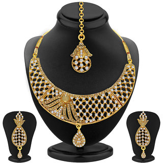 Sukkhi Lavish Gold Plated AD Necklace Set For Women