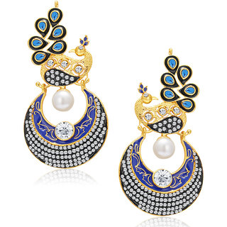 Sukkhi Pleasing Peacock Gold Plated AD Chandbali Earring For Women