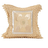SUNFLOWER - Off-white Cotton Krochia Cushion Cover - Set Of 2