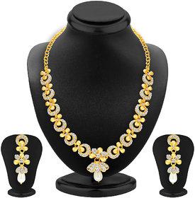 Sukkhi SilverGolden Alloy Gold Plated Necklace Set For Women