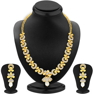 Sukkhi SilverGolden Alloy Gold Plated Necklace Set For Women