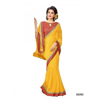 Bahubali Yellow Georgette Plain Saree With Blouse