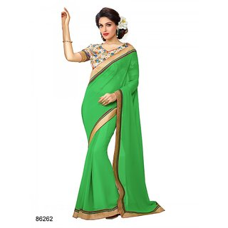 Bahubali Green Georgette Plain Saree With Blouse
