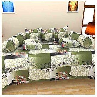Akash Ganga WhiteGreen Cotton Diwan Set (Pack of 8) (K16)