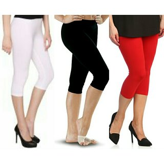 Raabta Red , Black and White Cotton Lycra Capri Set of Three Combo