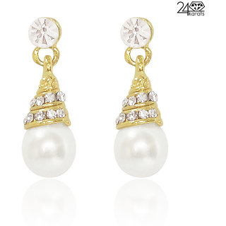 Pearl Drop Golden Earring By 24Karats