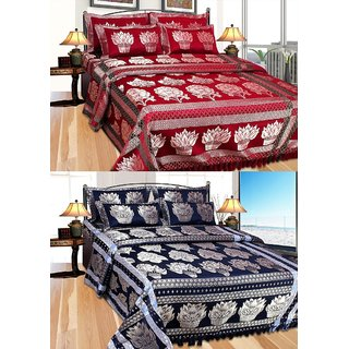 Furnishing Zone High Quality 2 Bed Cover With 4 Pillow Cover