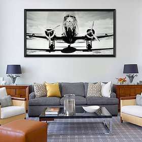 Elegant Arts  Frames Digital Framed Art Print - Passenger Airplane On Runway
