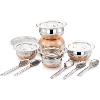 Mahavir 5Pc Copper Bottom Prabhu Chetty  With Lid And Serving Spoons