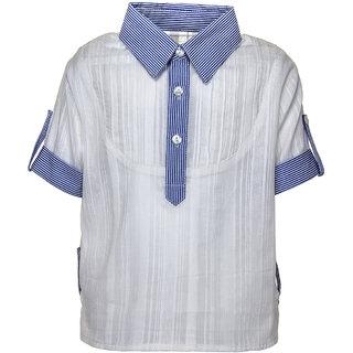 Blue Dobby Collar Shirt-3-4y