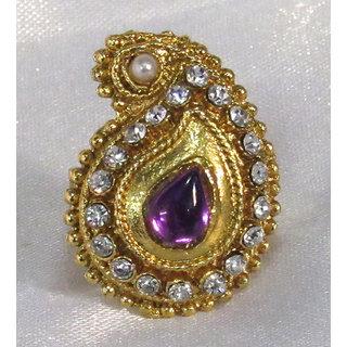 Purple tilak mango stone ring