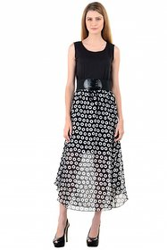 Raabta Black Dobal  Polka Dotted Long Dress with Belt
