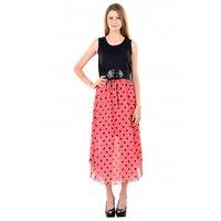 Raabta Peach With Black Polaka Dotted Long Dress with Belt