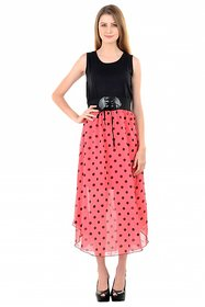 Raabta Peach With Black Polaka Dotted Long Dress with Belt