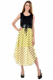 Raabta Yellow with Black Dobal  Polka Dotted Long Dress with Belt