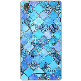 1 Crazy Designer Blue Moroccan Tiles Pattern Back Cover Case For Sony Xperia T3 C640287