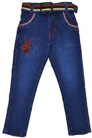 Baklol Men's Washed Regular Fit Blue Jeans