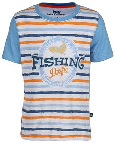 Bells and Whistles Striped Fishing Blue Cotton T shirt