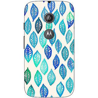 1 Crazy Designer Blue Leaves Pattern Back Cover Case For Moto E2 C650254