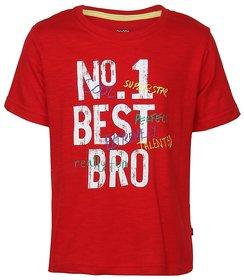 Bells and Whistles Printed No 1 Best Bro Tee in Red Slub Jersey