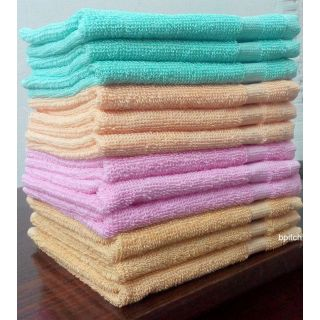 Bp Cotton Beige,Pink Face Towels (13X13 Inch) Combo Of 12