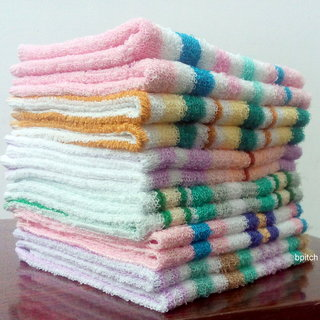 Bp Cotton White,Pink,Blue Face Towels (13X13 Inch) Combo Of 12