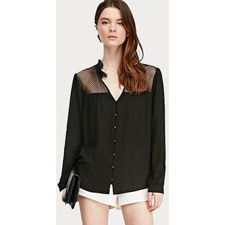 Black solid Net shoulder Shirt