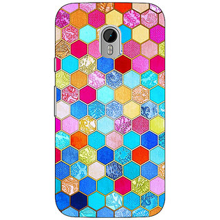 1 Crazy Designer Coloured Hexagon Pattern Back Cover Case For Moto G3 C670225