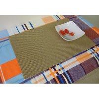 High Quality Basket Weave Gripper Table Mats Set Of 6 Golden