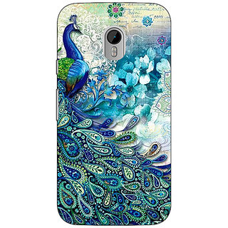 1 Crazy Designer Peacock Canvas Back Cover Case For Moto G3 C670796