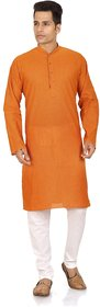 Orange  White Cotton Plain Kurta  Pyjama Sets For Men