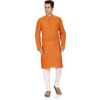 Orange  White Cotton Plain Kurta  Pyjama Sets For Men