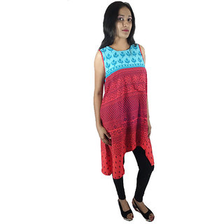 Shopmore C-Cut Synthetic red Kurtis