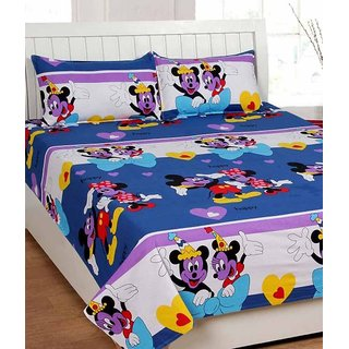 Akash Ganga Cotton Micky Mouse Double Bedsheet with 2 Pillow Covers (KMZ556)