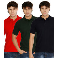 Weardo Men Polo T-Shirt Combo Red/Blue/Green