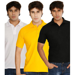 Weardo Men polo T-Shirt Combo Black/Yellow/White