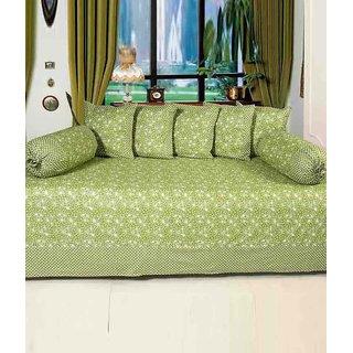 Akash Ganga Green Cotton Diwan Set (Pack of 8) (K24)
