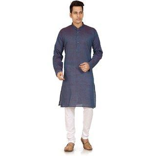 Purple  White Cotton Plain Kurta  Pyjama Sets For Men