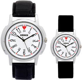 ORNIX PREMIUM-PAIR-101 LEATHER ANALOG WATCHES FOR COUPL