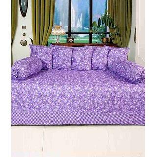 Akash Ganga Purple Floral Cotton Diwan Set (Pack of 8) (K34)