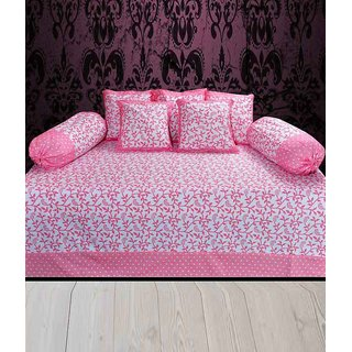 Akash Ganga Pink Abstract Cotton Diwan Set (Pack of 8) (K38)