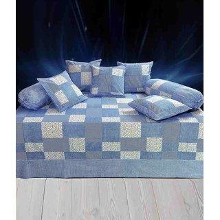 Akash Ganga Blue Floral Cotton Diwan Set (Pack of 8) (K40)