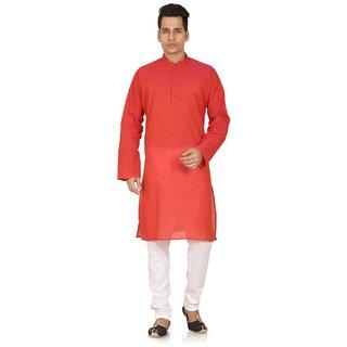 White  Red Cotton Plain Kurta  Churidar Set For Men