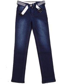 Ajanta Men's Slim Cotton Solid Fit Blue Jeans